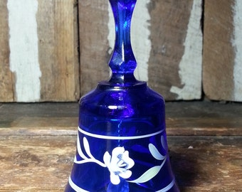 Vintage Fenton M. Young Handheld Hand Held Handpainted Painted Flower Blue Glass Collectible Bell.