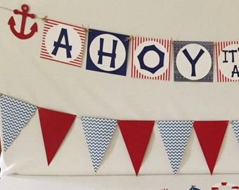 Nautical Baby Shower Package - Ahoy It's A Boy - Nautical Party Decorations - Baby Shower Decorations- Nautical baby Shower -Ahoy It's A Boy