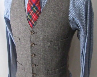 Men's Vintage Wool TWEED Vest ~ 36 to 38 / S ~ HERRINGBONE Waistcoat ~ Wedding ~