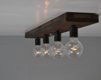 ceiling light wood fixture wood vanity light flush mount reclaimed wood - Flush Kitchen Lighting