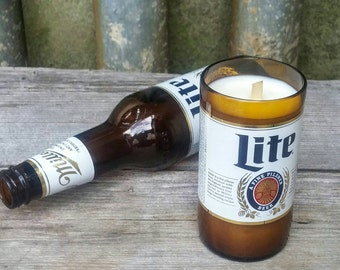 Upcycled Miller Light Beer Candle