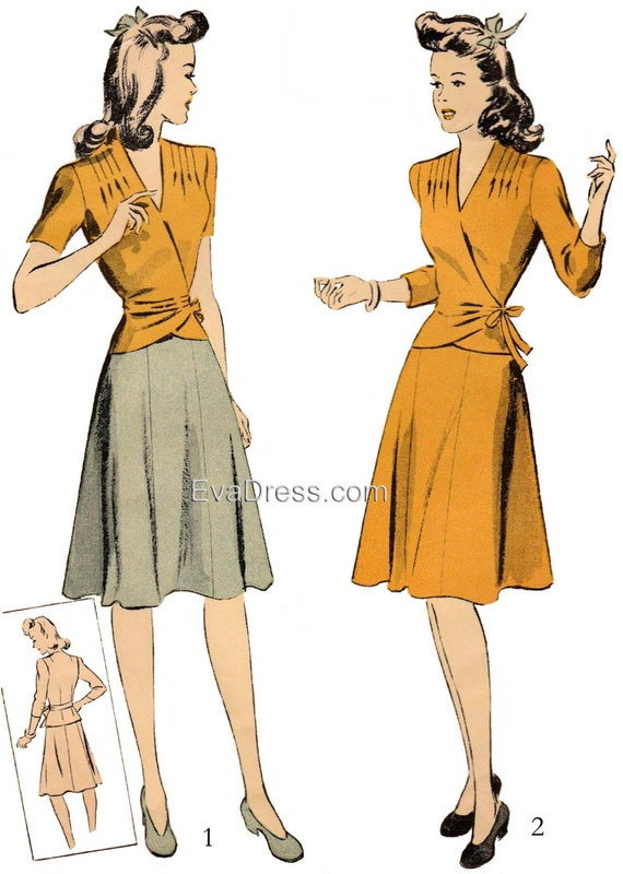 1940s Fabrics and Colors in Fashion 1942 Two-Piece Dress EvaDress Pattern1942 Two-Piece Dress EvaDress Pattern $20.00 AT vintagedancer.com