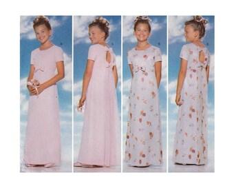 Girls Formal Dress, Evening Length, Sewing Pattern Size 12-14, Flower Girl, Junior Bridesmaid Uncut Butterick 5384