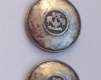 Pair Silver Vintage La Mode 24791 Jacket Blazer Buttons 22mm #97