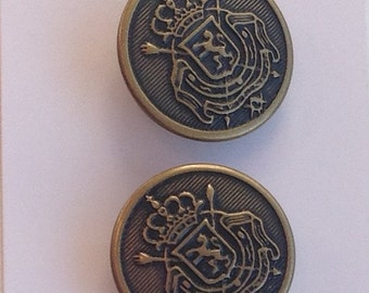 Pair Vintage Brass La Mode 26106 Jacket Blazer Buttons 23mm #97