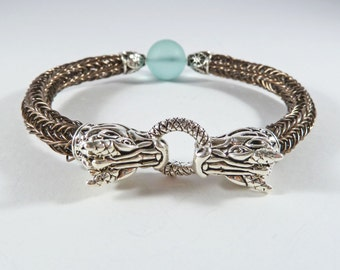 Dragon & Sea Glass Viking Bracelet, Viking Knit Bracelet, Dragon Jewellery, Woven, Wirework, Fantasy, SMALL/MEDIUM, Daenerys Style Bracelet