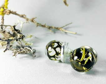 Swamp moss Resin sphere stud Earring, real moss globe, real lichen studs, Eco friendly, Sphere Earrings, Botanical Jewelry