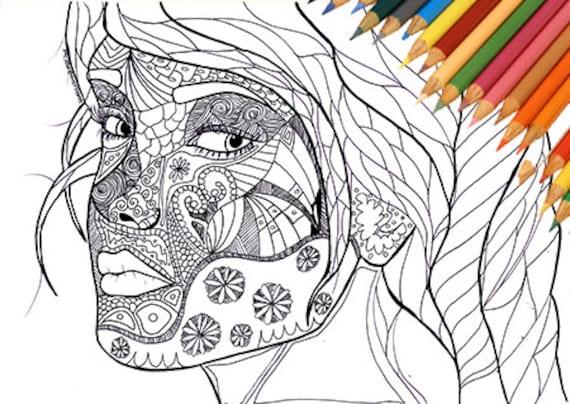 Viso Di Donna Da Colorare Stampabile Ragazza Astratto Elegante