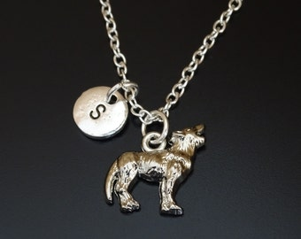 Wolf Necklace, Wolf Charm, Wolf Pendant, Wolf Jewelry, Wolf Gifts, Wolf Lover, Howling Wolf Charm, Howling Wolf Pendant, Animal Necklace