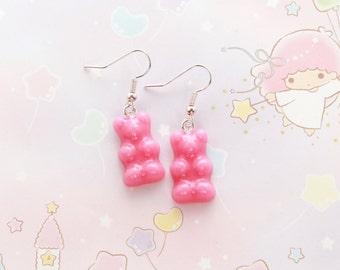 Pink Gummy Bear Earrings - fairy kei earrings, pink candy earrings, candy jewellery