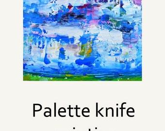Blue Green White Oil Landscape Painting. Impasto Palette Knife Art. Home Wall Decor. Gift for Brother. 49