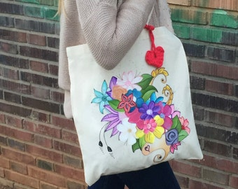 hand painted tote bag .flowers design. cotton bag. shopping bag. Gift hand-painted cotton ideas.bolsa