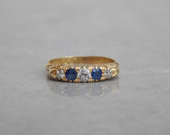 edwardian ring diamond and sapphire in 18ct gold