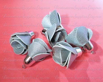 Decorative Tassels - 6 Silver Flower Tassels with Silver Caps - Pretty Rose Tassels For Jewelry - Keychain Tassels - Fancy Tassel - TD-1S16