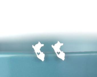 Peru Stud Earrings, Peru love, Peru earrings