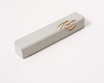 Ceramic Mezuzah Case, Turquoise Mezuzah, 24K Gold Judaica, modern minimalist, made in Israel, jewish housewarming gift, modern Judaica gift