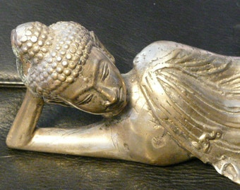 New! Reclining Buddha,sculpter silver plated