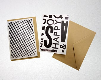 Black/white card, A6, folded, blank inside, with envelope. You can choose from 4 different cards.