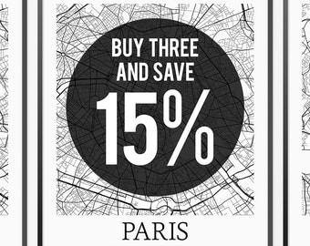 Buy 3 Get 15% off -- Any THREE of the Same Size -- Multiple Prints Discount