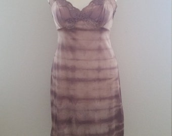 Dye4Me Collection Tie Dyed Slip Dress, Hand Dyed, Brown, S/M, #59657