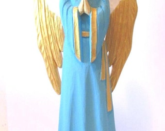 Wooden Angel  Wood Carved Angel Angel Statue Angel Figurine