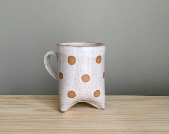 Made to Order / White polka dot piglet mug handmade by Mud to Life