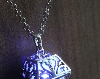 Blue Glowing Orb Pendant Necklace box Infinity Stones Locket , Romantic Gift for Her, glow Jewelry
