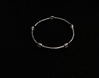 """A Genuine Designer Signed Ippolita Sterling Silver / Clear Quartz """"Rock Candy"""" Bangle Bracelet, 10.31 Grams, #2893"""