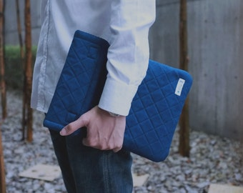Macbook/ Ipad Case V (Indigo dye with velcro closure)