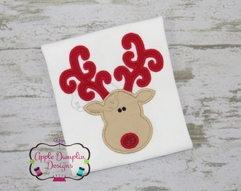 Reindeer Face with Curly Antlers Applique Machine Embroidery Design, Christmas, Gingerbread, Elf, Santa, Girl, Boy, Winter 4x4 5x7 6x10 9x9