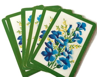 Blue & Yellow Wildflowers Vintage Playing Cards by Whitman with Box Full Deck with Jokers