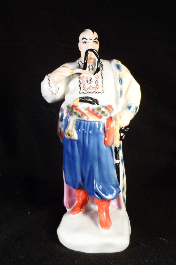 Asian Ceramic Figurine-Japanese Samari Warrior Statue-Polonaise Porcelain Factory, Kiev Russia,