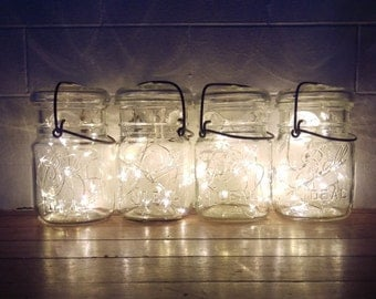 4 Indoor/Outdoor Vintage Mason Jar Fairy String Firefly Lights;4 Vintage Battery Operated Lights; Country Rustic Wedding Decor Centerpiece