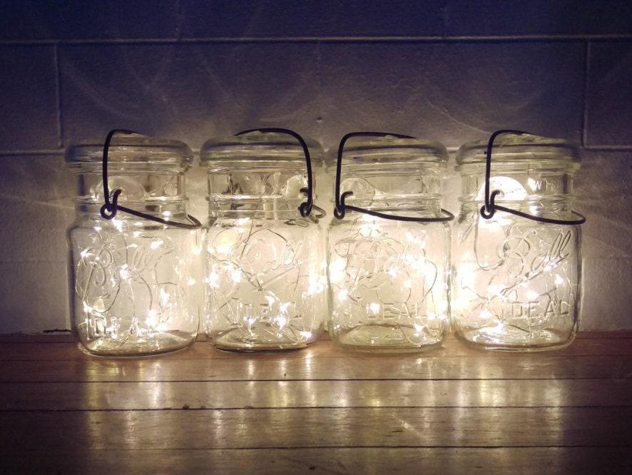 4 indooroutdoor vintage mason jar fairy string firefly lights4 vintage battery operated lights country rustic wedding decor centerpiece battery powered indoor lighting