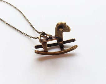 ROCKING HORSE Necklace Horse Jewelry Horse Necklace Rocking Chair Necklace Children Necklace Pony Necklace Pony Jewelry Rocking Cradle Gift