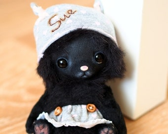 Sue - made to order artist teddy cat 5.5 inches from alpaca fabric and vintage plush