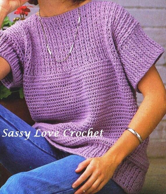 Crochet Pullover Purple Sweater Plus Sizes Short Sleeve
