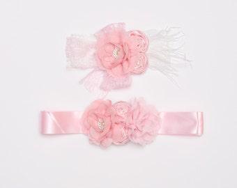 Pastel Pink flower sash set, Maternity sash, Lace pink headband set, Baby headband, Girl headband, Toddler Headband, Flower girl, Headband,