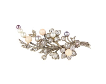 Victorian Diamond Flower Brooch, Antique Coral Diamond Black Pearl Brooch, Victorian Coral Brooch, Victorian Jewellery