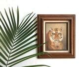 Vintage Original Tiger Painting / Safari Painting / Cabin Wall Art / Tiger Art Work / Tiger Wall Art / Jungle Art