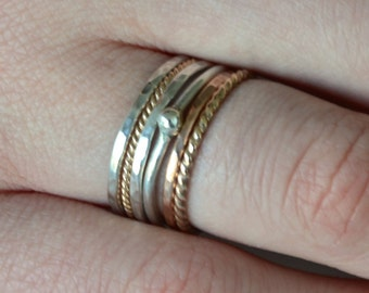 Set of Stacking Rings in 14k Rose Gold, 14k Yellow Gold and Sterling Silver