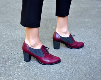 Kingston - Oxford Pumps, Womens Leather Oxfords, Burgundy Shoes, Oxford heel, Custom shoes, Vintage shoes, FREE customization!!!!