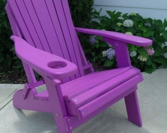 Recycled Poly Lumber Folding Adirondack Chair with Cup Holder - PURPLE - Handmade - Amish Made in the USA
