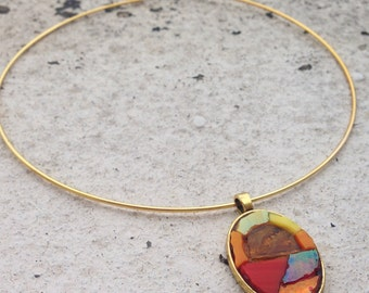 Mosaic pendant on the chain