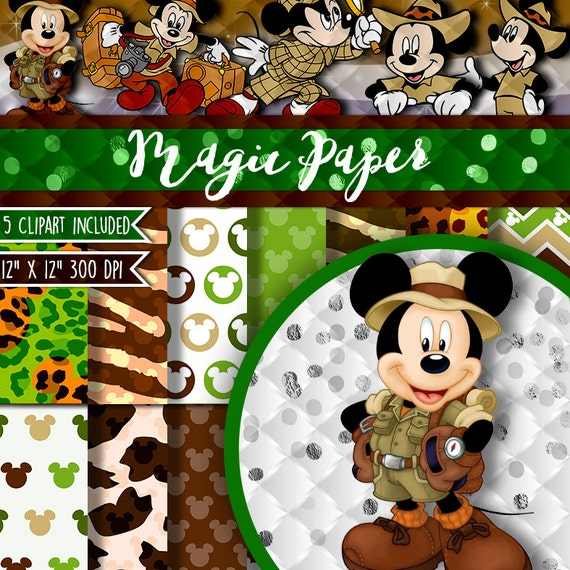50  off sale safari mickey mouse digital paper by magicpaperstore