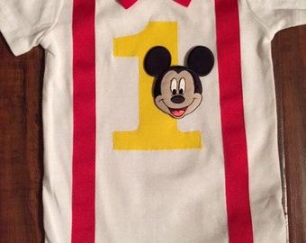 Custom Mickey Mouse Birthday Onesie with Bow Tie and Suspenders