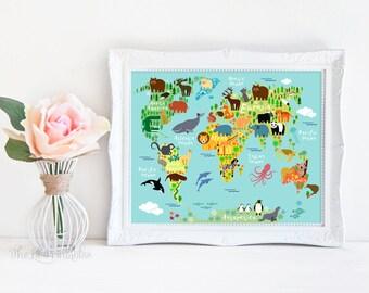 Animal World Map Printable, Nursery Wall Art, Colorful Printable, Kids Room Decor, World Map Art, Printable Art, Nursery Wall Decor, Animal