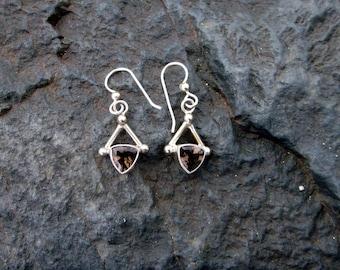 Smoky Quartz & Sterling Silver Earrings - #173