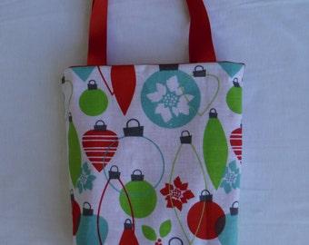 Christmas Fabric Gift Bag/ Secret Santa Bag/ Holiday Goody Bag- Christmas Ornaments