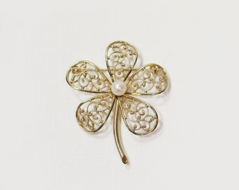 Vintage Gold Filled Clover Pin with Pearl Center